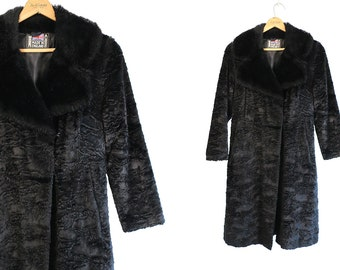 Vintage Vtg Vg 1960's 60's British Invasion Black Faux Fur Swing Coat Made in England Women's Medium to Large Retro Mod High Fashion Hipster