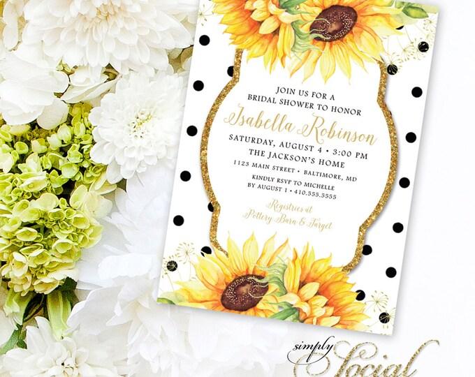 Sunflower Bridal Shower Invitation - Glitter Glam Sparkling Watercolor Sunflowers and Black Polka Dots Bridal Shower Invitation Printable