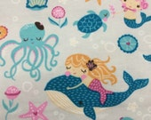 Mermaids and Norwhales - Cotton FLANNEL Fabric