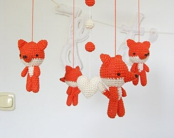 Fox Baby Mobile, Crochet Fox Nursery Mobile, Woodland Mobile, Wild Animal Mobile, Forest Mobile, Woodland Nursery Decor