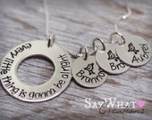 """Custom Hand Stamped Sterling Silver Three Little Birds Necklace """"Every Little Thing Is Gonna Be Alright"""""""