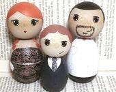 Custom Kokeshi Doll Wedding Cake Toppers with 1 child