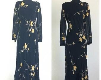 70% OFF CLOSING SALE Vintage 1980s 1990s Black Sheer Floral Chiffon Long Sleeve Maxi Dress Benjami A romantic M (f)