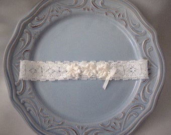 Baby Headband size newborn to 3 months, Silk Ribbon Embroidery,Silk flowers and Crystals,White lace headband. Ready to Ship