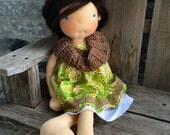 "bailey paisley dress, eyelet slip, crochet scarf set for big waldorf doll 20-22"" green brown white"