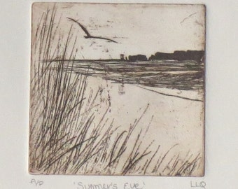 Original etching print of a coastal view beach ocean sea