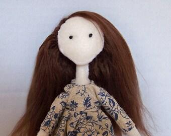 Felt doll, OOAK, fabric doll, cloth doll, hand-made, hand-sewn, kawaii, comes in handmade gift bag - Clearance