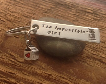 "Dr Who inspired Clara ""The Impossible Girl"" hand stamped keychain"