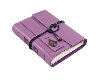 Light Purple Leather Journal - Leather Journal - Blank Paper - Travel Journal - Lined Paper - Wrap Journal - For Her - Diary - Wedding -