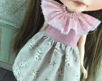 Blythe Frilly Neck Dress - Taupe and Pink