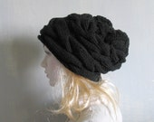 Hand Knit Hat - Slouchy Hat - Slouchy Women Hat - Oversized Hat - Cable Hat in BLACK - Chunky Knit