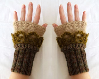 Beige Brown Olive Cuffs, Fingerless gloves, Crochet, knit, Arm Wrist Warmers, Women, Winter Knit Fashion Accessories
