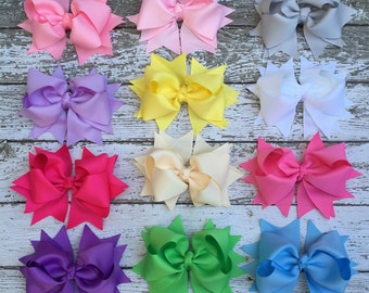 Stacked Hair Bows Girl Hair Bow Clip attached to partially lined single prong alligator clip.  Knotted center. Hair bow set, basic hair bow