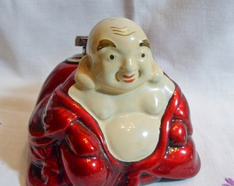 Vintage Chinese Red Lacquer Buddha Tabletop Cigarette Lighter