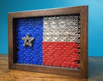 TEXAS - flag series of reclaimed bike chain