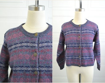 1990s L.L.Bean Wool Fairisle Cardigan Sweater