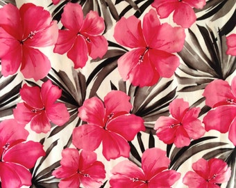 Lycra Fabric Hawaiian Hibiscus Large Remnant Floral Print Lycra Swimwear Dance Wear Fabric Crafts Sewing