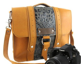 "10"" Grizzly and Green Paisley Napa Safari Leather Camera Bag -  10-ASH-GZGP-SMCAM"