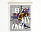 Medium Let's Fly Away Butterfly Canvas Hanging Print. Pull Down Chart - Wall Hanging Vintage Botanical Insects Inspirational  - TD102CV