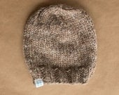 Super Chunky Knit Wool Blend Ladies Beanie Hat - Tan Beige Taupe Heathered - Ready to ship