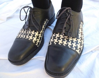 90s Patrick Cox Leather Dress Shoes, Black and White Swing Dance Oxfords, Basketweave, Made in Italy Size 43 1/2 Jackpot Jen Vintage