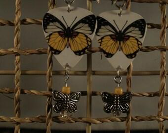 Guitar Pick Butterfly Earrings