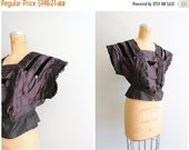 SALE / antique Gibson Girl black silk bodice - Victorian half mourning blouse / Edwardian top - antique silk blouse / 1800s - 1900s clothing