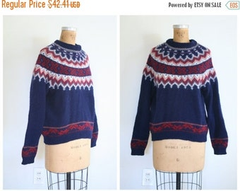 APRIL 20% SALE // vintage 80s preppy ski sweater - holiday fair isle yolk neck / Woolrich - wool & mohair / 1980s - Christmas