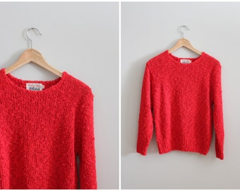 CLEARANCE SALE // 80s cherry red ladies sweater - soft boucle crewneck / Tally Ho - vintage 80s preppy sweater / crew neck pullover sweater