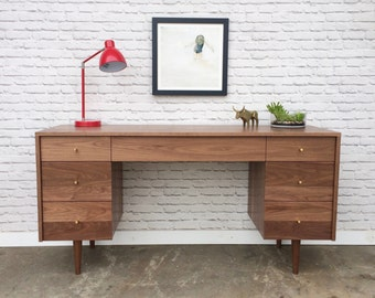 Society Desk - Solid Walnut - Mid Century Modern Inspired