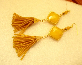Rich YELLOW JADE Diamond Bezel-Set in 22K Gold Plate w/Jade & Crystal Accents and Afghan Beaded TASSELS/22K Gold Bead Cap Pierced Earrings