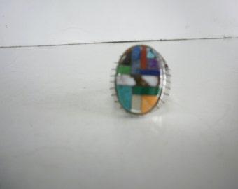 vintage Native American Sterling Silver Ring Multi Gemstones Ring Zuni Ring Man Ring Inlay Ring Statement Ring