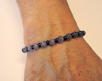 Purple Catseye Adjustable Bracelet With C Charm