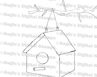 Hanging Birdhouse Digital Stamp Image