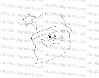 Santa Head Digital Stamp Image