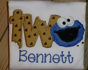 Cookie Monster ONE or TWO Applique T Shirt or Bodysuit with Free Personalization