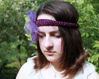 Romantic HEADBAND, wedding, flowers, summer, green,violet, adult, woman, crocheted, organza