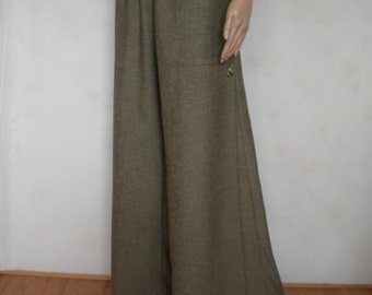 wide leg linen pant palazzo pant boho bohemian pant oversize pant loose loose fitting pant pleated pant with pockets made to order
