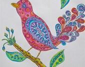 Pink Bird Original Colored Pencil Drawing Illustration Children's Decor Yellow Pink Blue Paisley OOAK