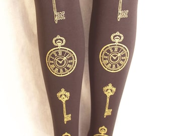 Clock Key Tights Small Steampunk Gold on Chocolate Brown Printed Victorian Lolita Pocketwatch Otome Kei Dolly