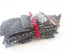 Destash Wool Scraps Charcoal GRAY & WHITE with Red Coordinating Felted Sweater Wool Fabric Scrap Pack Wool Pieces Destash by WormeWoole
