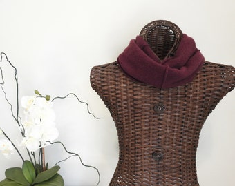 Infinity Scarf BLACK CHERRY Burgundy Upcycled Felted Cashmere Infinity Scarf Eco Fashion by WormeWoole