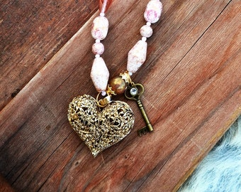 Necklace Vintage Picasso Pink 1950's Glass   Bff Gift Heart Charm