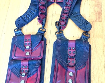 Ready To Ship Small HOMBRE Shoulder Holster Burning Man Pockets Utility Festival leather Mad Max goth black dark red