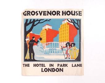 Vintage Grosvenor House hotel luggage label, original unused paper ephemera, 1930s, decal, sticker, baggage, London England UK, gummed