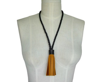 Tassel Necklace in Leather Braided Rope Necklace Non Metal Jewelry Leather Tassel necklace Honey Tan & Black and tan leather necklace women