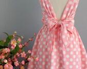 Pink dress pink polka dot dress pink party dress pink prom dress bow back dress pink bridesmaid dresses pink sundress