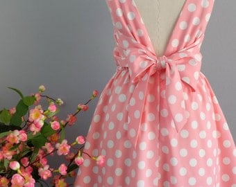 SALE S Pink dress pink polka dot dress pink party dress pink prom dress bow back dress pink bridesmaid dresses pink sundress