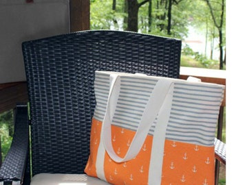 Carryall Tote - Anchors Orange/Stripes Gray