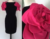 Vintage Victor Costa Black Velvet Cocktail Dress with Rose petal Sleeves